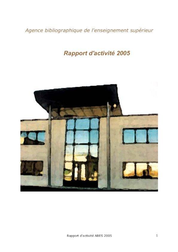 Couverture rapport d'activités 2005