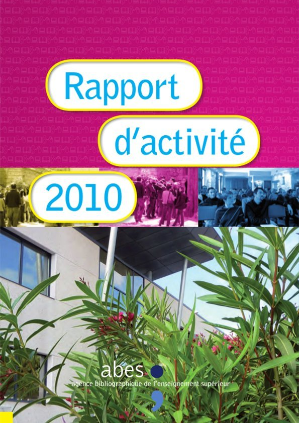 Couverture rapport d'activités 2010