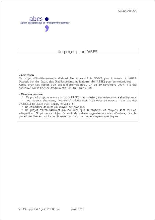 Couverture du projet d'établissement de l'Abes 2008-2011