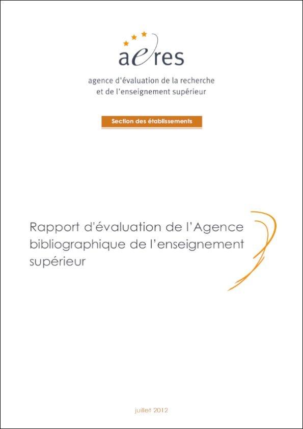 Couverture du rapport d'évaluation de l'Abes par l'Aeres 2012