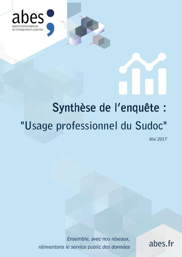 Couverture enquête usage professionnel du Sudoc 2017