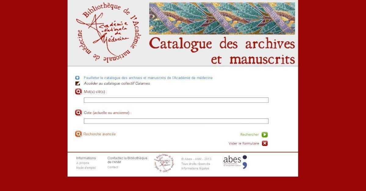 Bibliothèque de l'Académie nationale de Médecine - Catalogue des archives et manuscrits