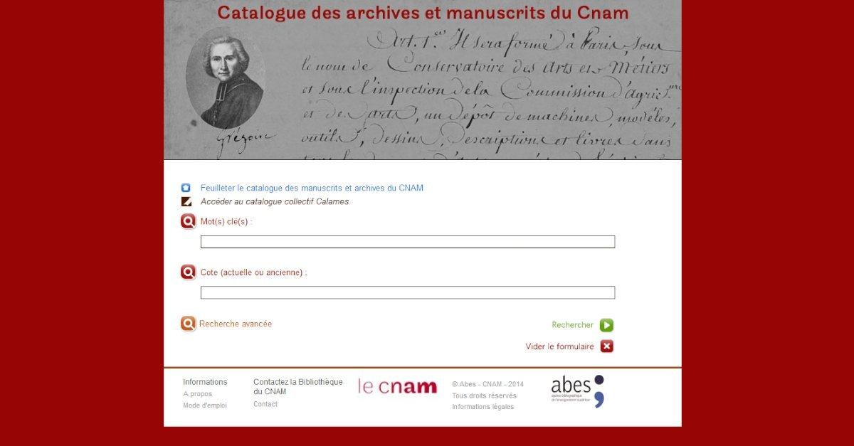 CNAM - Conservatoire National des Arts et Métiers - Catalogue des archives et manuscrits