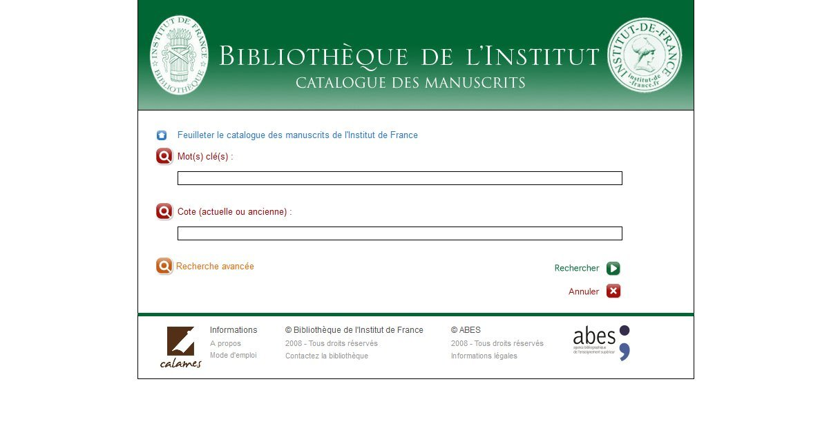 Bibliothèque de l'Institut de France - Catalogue des archives et manuscrits