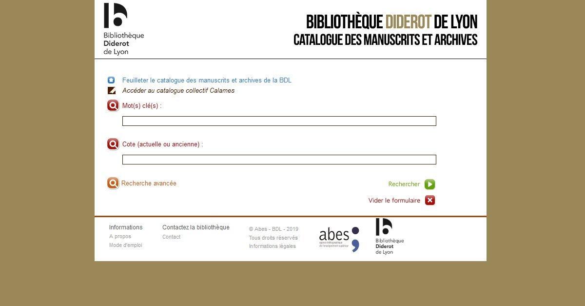 Bibliothèque Diderot de Lyon - Catalogue des archives et manuscrits