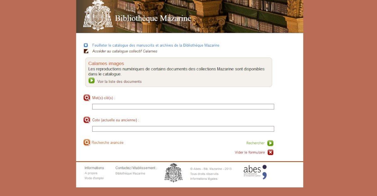 Bibliothèque Mazarine - Catalogue des archives et manuscrits