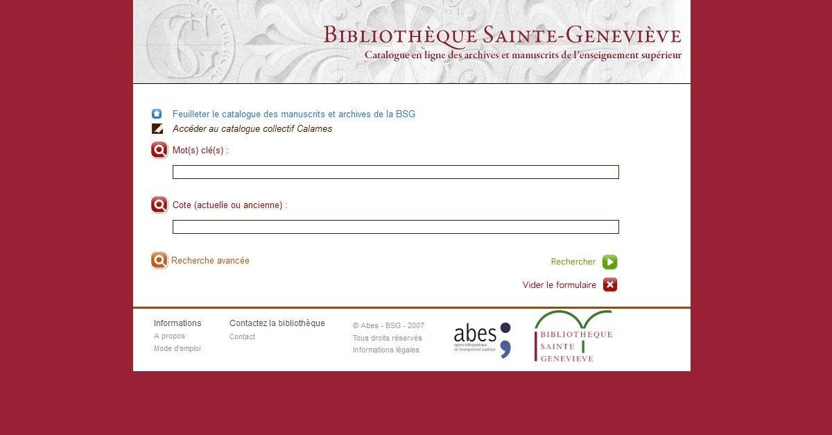 Bibliothèque Sainte-Geneviève - Catalogue des archives et manuscrits