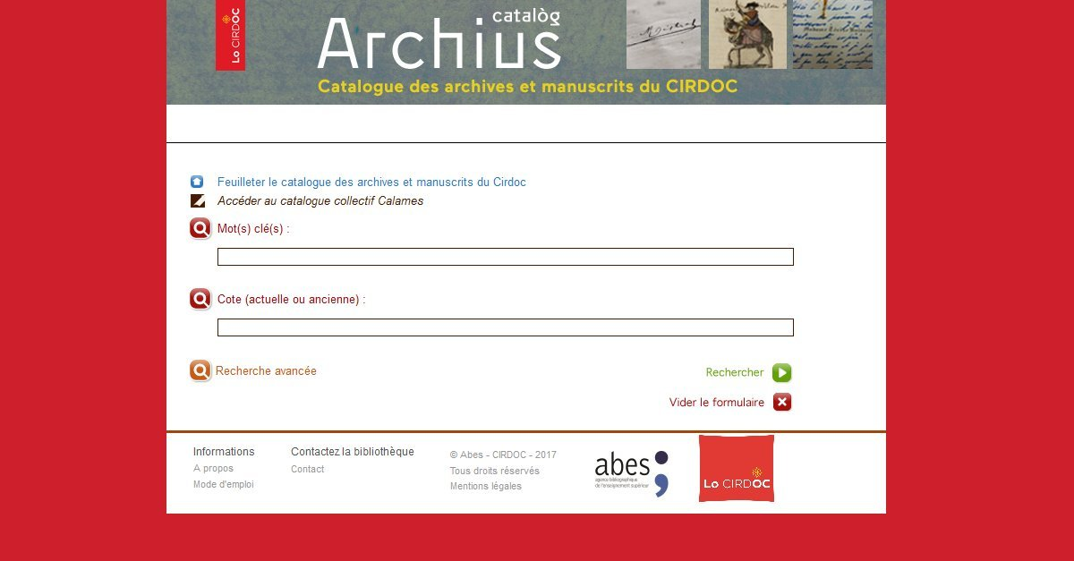Cirdoc - Catalogue des archives et manuscrits