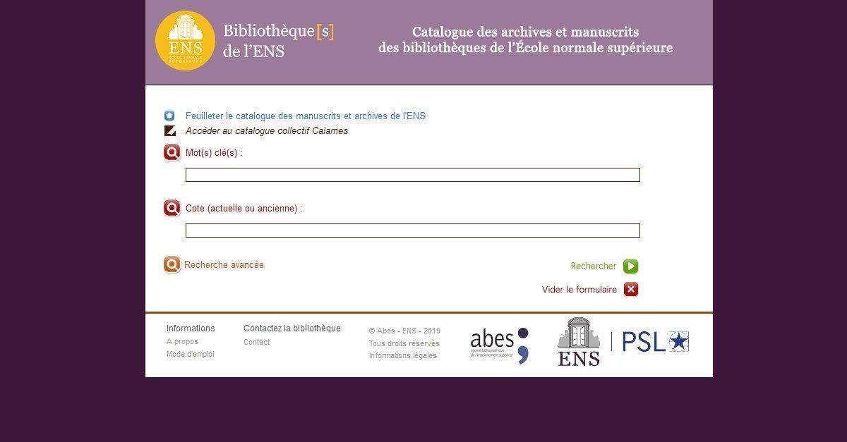 Bibliothèque[s] de l'École Normale Supérieure - Catalogue des archives et manuscrits