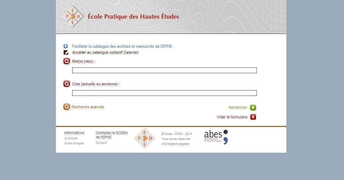 EPHE - École Pratique des Hautes Études - Catalogue des archives et manuscrits
