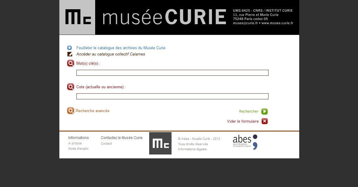 Musée Curie - Catalogue des archives et manuscrits