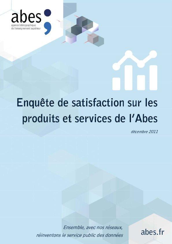 Couv enquête satisfaction Abes - 2011