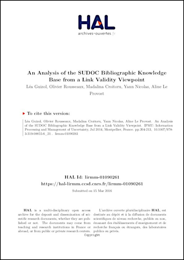 Analysis of the SUDOC Bibliographic Knowledge Base