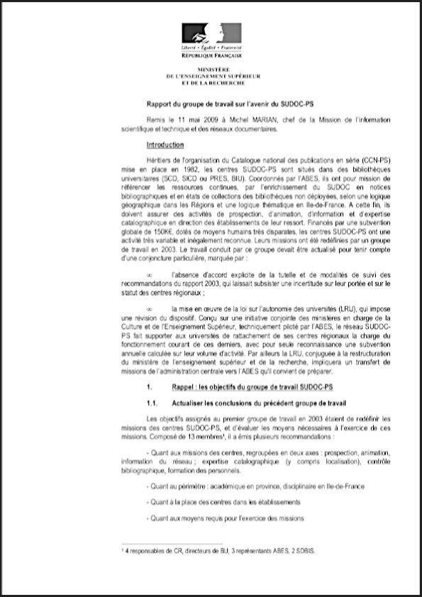 Couv rapport avenir Sudoc PS