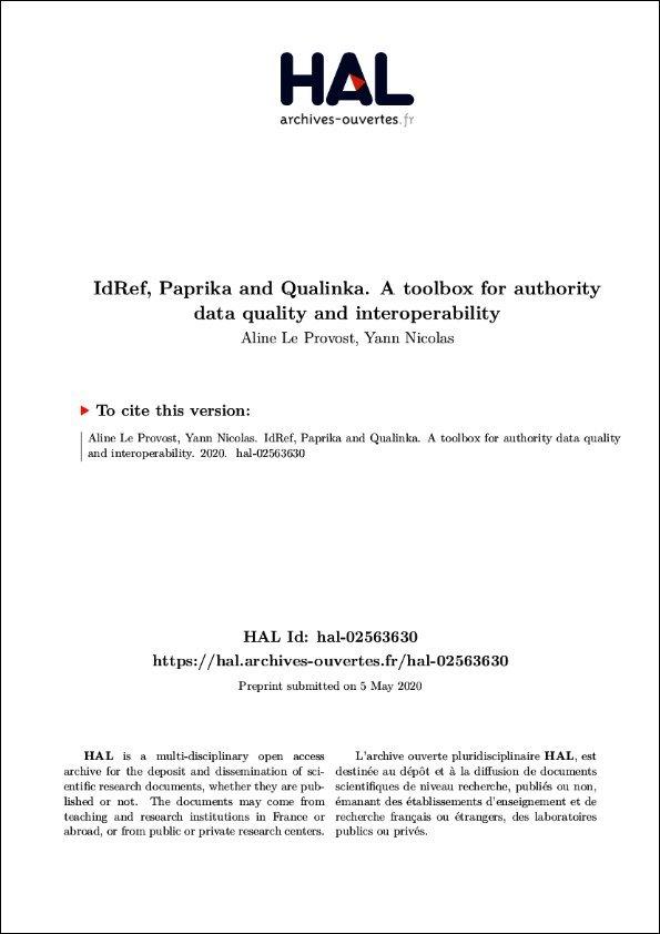 IdRef, Paprika and Qualinka