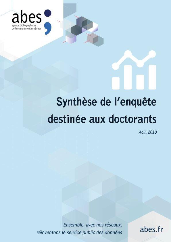 Couverture synthèse enquête doctorants 2010